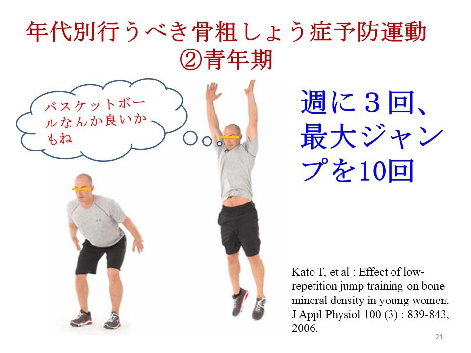 年代別行うべき骨粗しょう症予防運動②青年期には思いっきりジャンプ