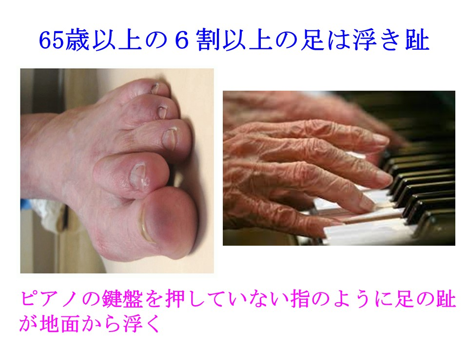 高齢者の6割は足の指が地面に着いていない